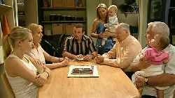 Janae Timmins, Janelle Timmins, Toadie Rebecchi, Steph Scully, Charlie Hoyland, Harold Bishop, Lou Carpenter, Kerry Mangel (baby) in Neighbours Episode 5209