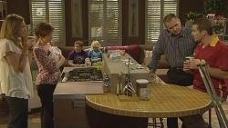 Sonya Mitchell, Susan Kennedy, Callum Jones, Charlie Hoyland, Karl Kennedy, Toadie Rebecchi in Neighbours Episode 6100