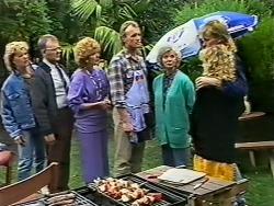 Henry Mitchell, Harold Bishop, Madge Mitchell, Jim Robinson, Helen Daniels, Scott Robinson, Charlene Mitchell in Neighbours Episode 0503