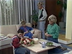 Lucy Robinson, Charlene Mitchell, Scott Robinson, Helen Daniels in Neighbours Episode 0509