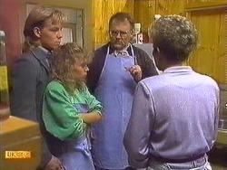 Scott Robinson, Charlene Mitchell, Harold Bishop, Eileen Clarke in Neighbours Episode 0557