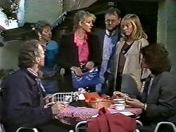 Jim Robinson, Eileen Clarke, Amanda Harris, Harold Bishop, Jane Harris, Beverly Marshall in Neighbours Episode 0564