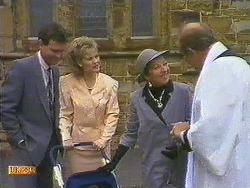 Des Clarke, Daphne Clarke, Eileen Clarke, Reverend Sampson in Neighbours Episode 0585