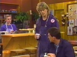 Sally Wells, Henry Ramsay, Des Clarke in Neighbours Episode 0607