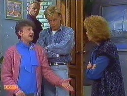 Nell Mangel, Jim Robinson, Scott Robinson, Madge Bishop in Neighbours Episode 0608