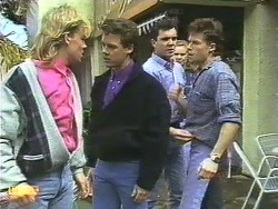 Scott Robinson, Paul Robinson, Greg Cooper, Sally Wells, Mike Young in Neighbours Episode 0610