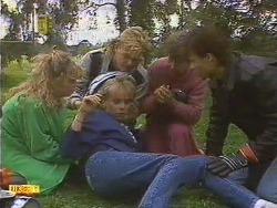 Charlene Robinson, Scott Robinson, Jane Harris, Nell Mangel, Mike Young in Neighbours Episode 0630