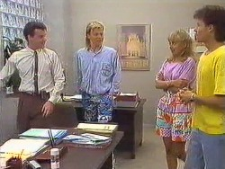 Paul Robinson, Scott Robinson, Jane Harris, Mike Young in Neighbours Episode 0639
