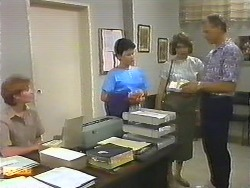 Receptionist, Lucy Robinson, Beverly Marshall, Jim Robinson in Neighbours Episode 0644