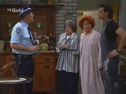 Sheriff Rafferty, Marlene Kratz, Cheryl Stark, Sam Kratz in Neighbours Episode 2578