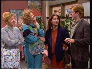 Eileen Clarke, Madge Bishop, Louise Laurie, Clive Gibbons in Neighbours Episode 0309