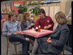 Scott Robinson, Charlene Mitchell, Mike Young, Jane Harris in Neighbours Episode 0320