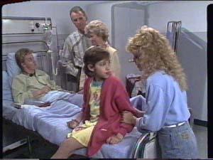 Scott Robinson, Jim Robinson, Helen Daniels, Lucy Robinson, Charlene Mitchell in Neighbours Episode 0393