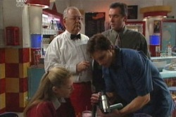 Felicity Scully, Harold Bishop, Darcy Tyler, Karl Kennedy in Neighbours Episode 3848