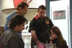 Joel Samuels, Toadie Rebecchi, Drew Kirk, Libby Kennedy in Neighbours Episode 3880