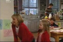 Maggie Hancock, Emily Hancock, Leo Hancock, Evan Hancock in Neighbours Episode 3904