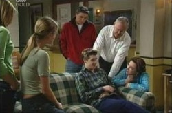 Steph Scully, Felicity Scully, Joe Scully, Harold Bishop, Lyn Scully, Tad Reeves in Neighbours Episode 3907
