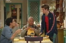 Tad Reeves, Harold Bishop, Paul McClain in Neighbours Episode 3914