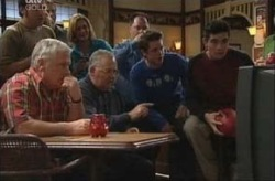 Lou Carpenter, Harold Bishop, Tad Reeves, Paul McClain in Neighbours Episode 3916