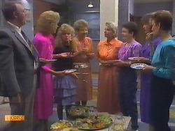 Harold Bishop, Madge Bishop, Charlene Mitchell, Eileen Clarke, Helen Daniels, Lucy Robinson, Beverly Marshall, Gail Robinson in Neighbours Episode 0649