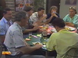 Malcolm Clarke, Jim Robinson, Mike Young, Des Clarke, Paul Robinson, Henry Ramsay, Scott Robinson in Neighbours Episode 0649