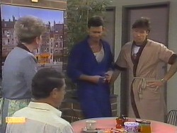 Eileen Clarke, Malcolm Clarke, Des Clarke, Mike Young in Neighbours Episode 0649