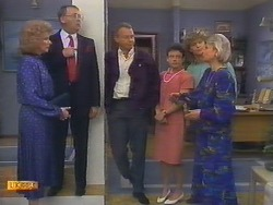 Madge Bishop, Harold Bishop, Jim Robinson, Lucy Robinson, Henry Ramsay, Helen Daniels in Neighbours Episode 0649