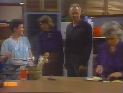 Lucy Robinson, Beverly Marshall, Jim Robinson, Helen Daniels in Neighbours Episode 0654