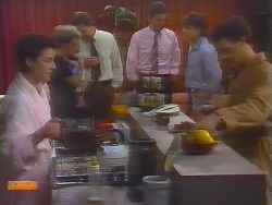 Gail Robinson, Eileen Clarke, Malcolm Clarke, Des Clarke, Mike Young, Paul Robinson in Neighbours Episode 0654
