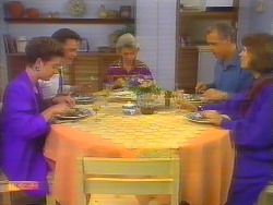 Gail Robinson, Paul Robinson, Helen Daniels, Jim Robinson, Beverly Marshall in Neighbours Episode 0654