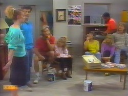 Sally Wells, Tony Romeo, Scott Robinson, Charlene Mitchell, Mike Young, Jane Harris, Pete Baxter, Henry Ramsay in Neighbours Episode 0659
