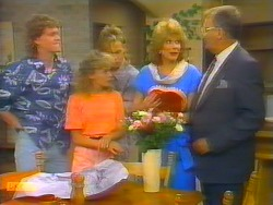 Henry Ramsay, Charlene Mitchell, Scott Robinson, Madge Bishop, Harold Bishop in Neighbours Episode 0661