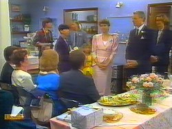 Paul Robinson, Gail Robinson, Mike Young, Madge Bishop, Hilary Robinson, Scott Robinson, Harold Bishop, Beverly Marshall, Jim Robinson, Celebrant in Neighbours Episode 0661