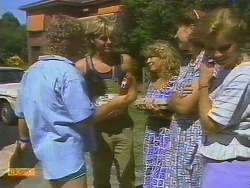 Henry Ramsay, Scott Robinson, Charlene Robinson, Beverly Robinson, Sally Wells in Neighbours Episode 0683