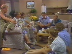 Scott Robinson, Charlene Mitchell, Jim Robinson, Beverly Marshall, Frank Darcy, Sally Wells, Helen Daniels, Henry Ramsay in Neighbours Episode 0683