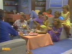 Jim Robinson, Frank Darcy, Lucy Robinson, Katie Landers, Henry Ramsay, Scott Robinson, Sally Wells, Charlene Robinson in Neighbours Episode 0683