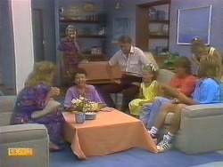 Sally Wells, Helen Daniels, Lucy Robinson, Frank Darcy, Katie Landers, Henry Ramsay, Charlene Robinson, Scott Robinson in Neighbours Episode 0683