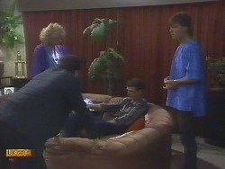 Madge Bishop, Paul Robinson, Des Clarke, Mike Young in Neighbours Episode 0692