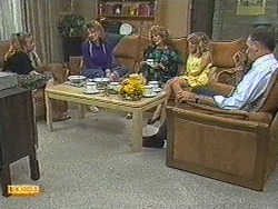 Sally Wells, Melanie Pearson, Madge Bishop, Charlene Mitchell, Harold Bishop in Neighbours Episode 0714