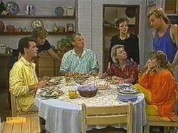 Paul Robinson, Jim Robinson, Helen Daniels, Gail Robinson, Charlene Mitchell, Scott Robinson in Neighbours Episode 0723