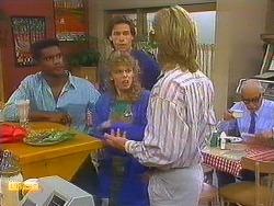 Pete Baxter, Mike Young, Charlene Robinson, Scott Robinson, John Worthington in Neighbours Episode 0750