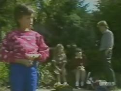 Lucy Robinson, Charlene Mitchell, Nikki Dennison, Scott Robinson in Neighbours Episode 0242