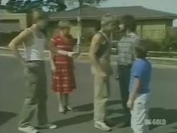 Clive Gibbons, Eileen Clarke, Shane Ramsay, Gavin McKinley, Bradley Townsend in Neighbours Episode 0246