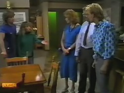 Henry Ramsay, Charlene Mitchell, Madge Bishop, Harold Bishop, Scott Robinson in Neighbours Episode 0739