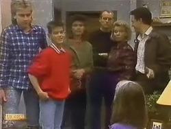 Nick Page, Todd Landers, Beverly Marshall, Jim Robinson, Helen Daniels, Katie Landers, Paul Robinson in Neighbours Episode 0798