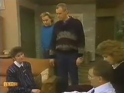 Beverly Marshall, Scott Robinson, Jim Robinson, Harold Bishop, Madge Bishop in Neighbours Episode 0799
