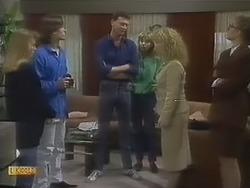 Bronwyn Davies, Mike Young, Des Clarke, Jane Harris, Sharon Davies, Penelope Porter in Neighbours Episode 0801
