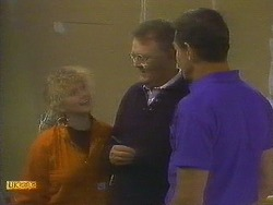 Sharon Davies, Harold Bishop, Malcolm Clarke in Neighbours Episode 0848