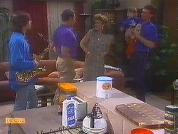 Mike Young, Malcolm Clarke, Leanne, Jamie Clarke, Des Clarke in Neighbours Episode 0853