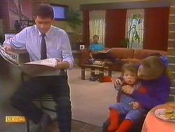 Des Clarke, Malcolm Clarke, Jamie Clarke, Bronwyn Davies in Neighbours Episode 0858